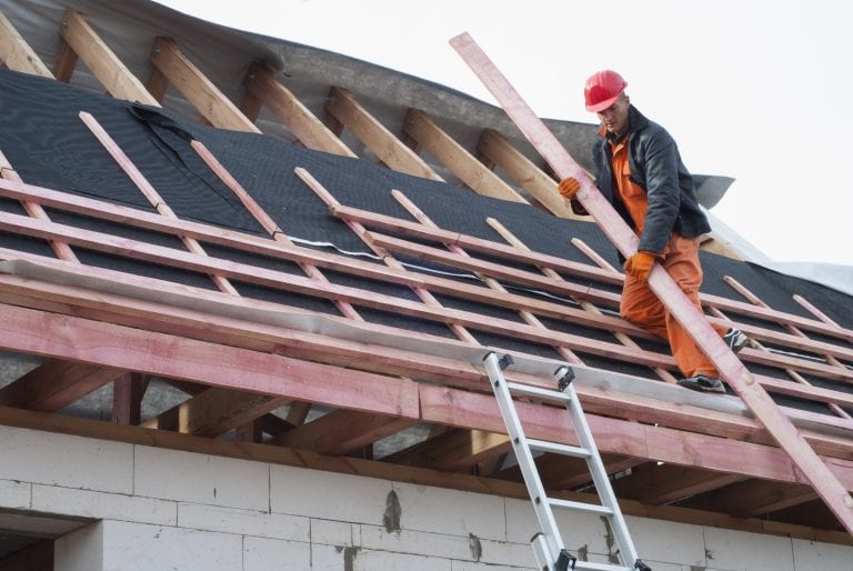 Roofing contractors during work